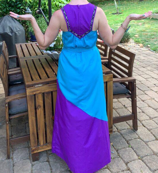 back of vintage muumuu dress refashion