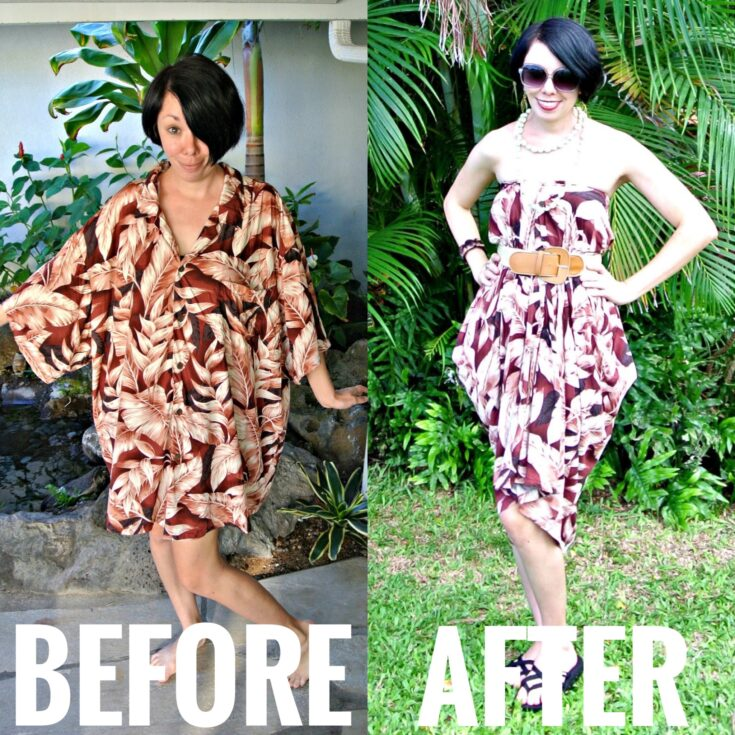 No Sew Hawaiian Shirt to Dress Refashion | Refashionista