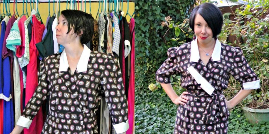 A Cameo Print/Asymmetrical Lapel Dress Refashion 1
