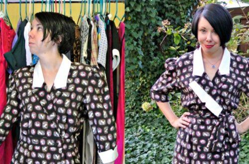 A Cameo Print/Asymmetrical Lapel Dress Refashion 13