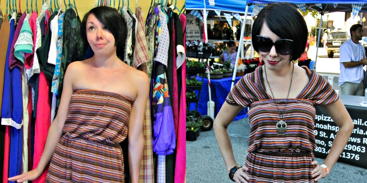 A Dress to Cowl Back Top Refashion 1