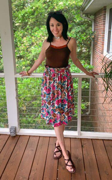Dress to Elastic Waist Skirt DIY after