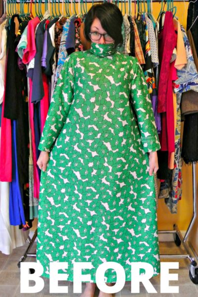 A No-Sew '70s Housecoat to Dress Refashion 4