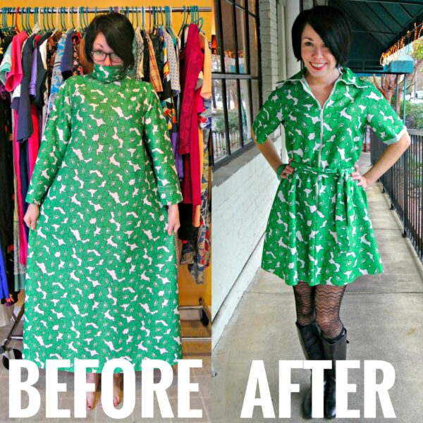 Refashionista No-Sew '70s Housecoat to Dress Refashion Before and After