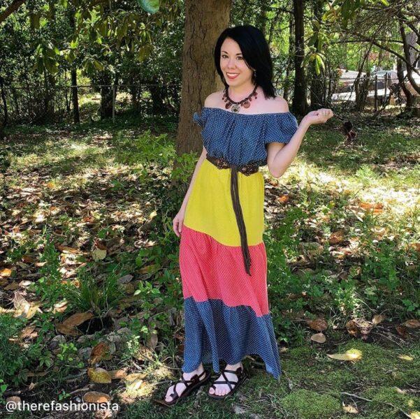 refashionista in maxi dress