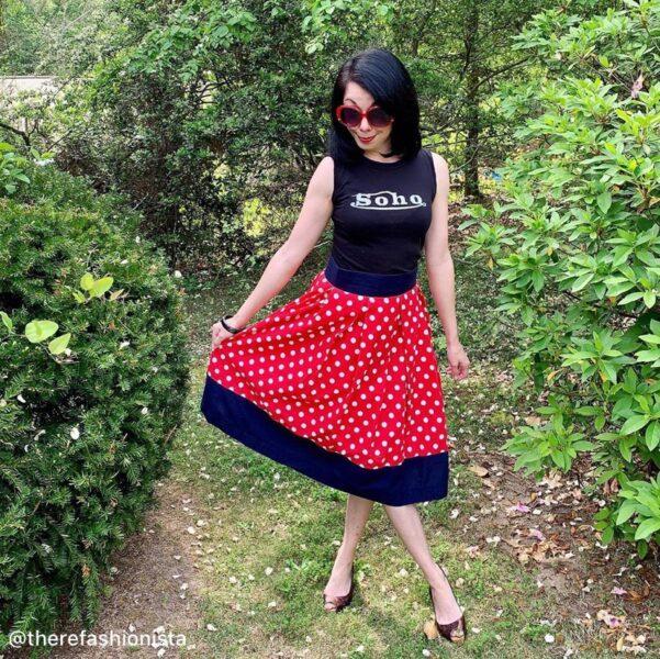 refashionista in polka dot skirt