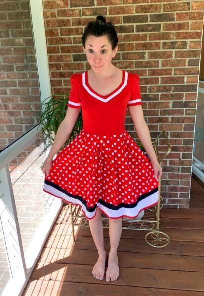 overdyed polka dot dress refashion before