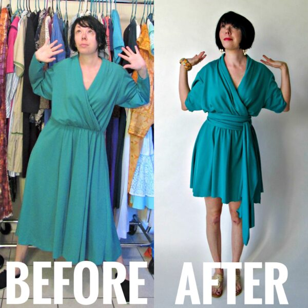 refashionista no sew thrift store dress refashion