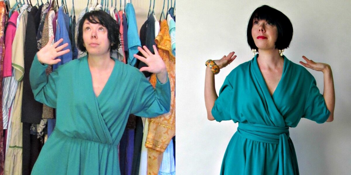 No-Sew Thrift Store Dress Upcycle 3