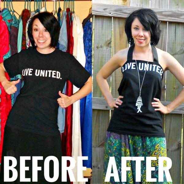 refashionista DIY Halter top from tshirt