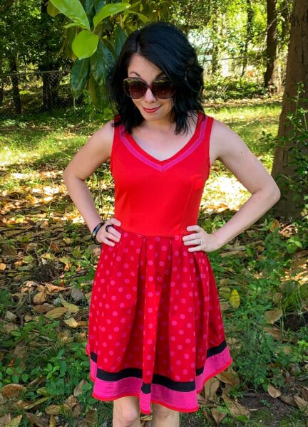 overdyed polka dot dress refashion after closeup