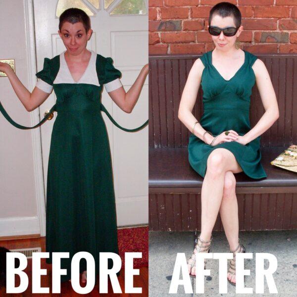Refashionista Green withEnvy: A DIY Ruched Shoulder Dress Refashion