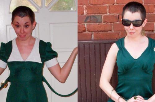 Green withEnvy: A DIY Ruched Shoulder Dress Refashion 12