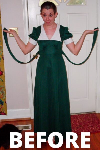 Green withEnvy: Ruched Shoulder Dress Refashion 2