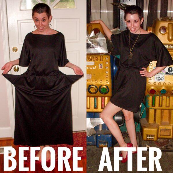 Drapey Black Dress Refashion