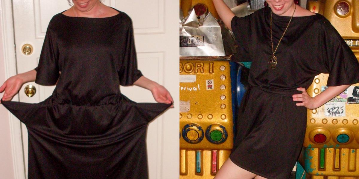 Channeling Chanel: A Simple Drapey Black Dress Refashion 1