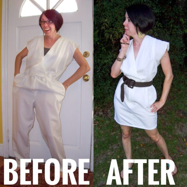 Refashionista '80s Jumpsuit to Dress Refashion