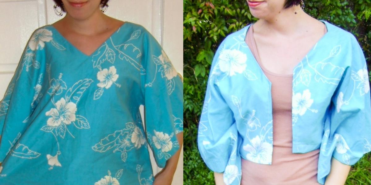 Day 57: A Shirt to Bolero Refashion: Aloha Edition 1