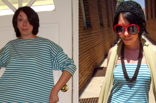 Day 48: A Stripey DIY Strapless Dress Refashion 6