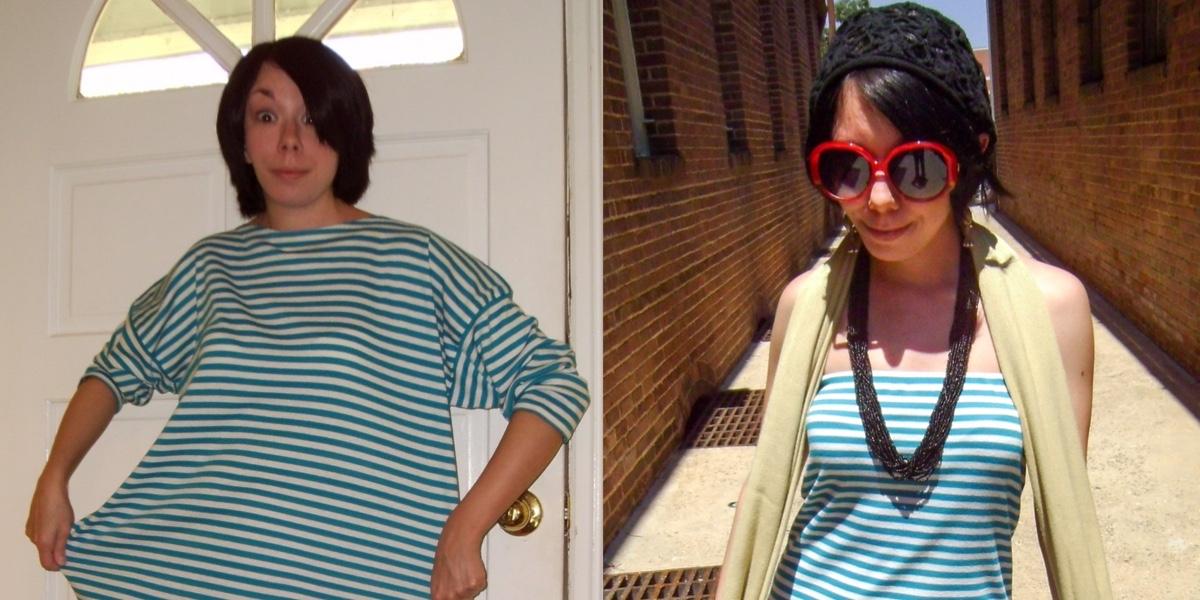 Day 48: A Stripey DIY Strapless Dress Refashion 1
