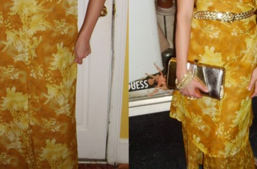 Day 64: No-Sew Refashion: An Elegant Twist & Cinch Dress 5