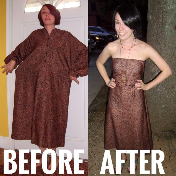 Easiest No-Sew Dress Refashion Ever Before and After