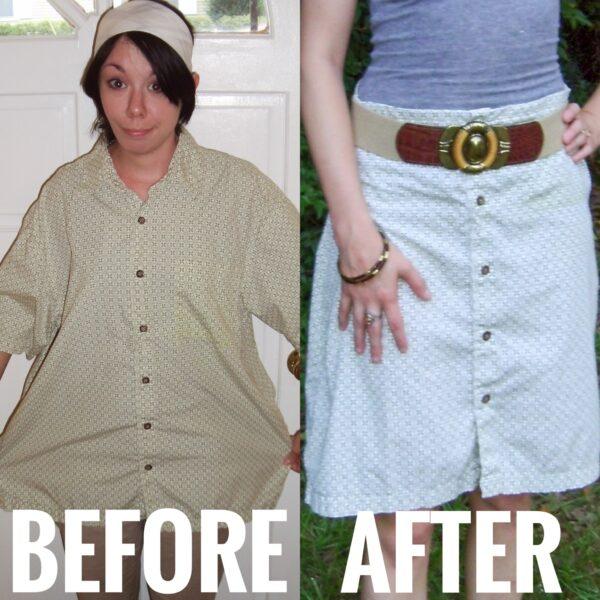 short sleeve button down shirt to skirt refashion