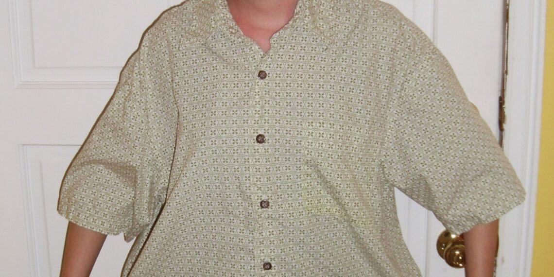 Day 36: Shirt is Skirt: A Men's Short Sleeve Button Up Shirt to Skirt Refashion 1