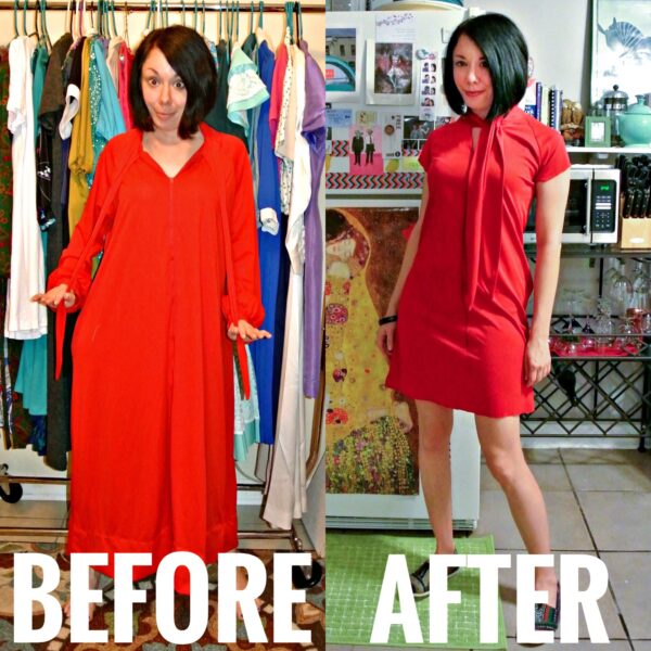 Refashionista Housecoat to Dress Refashion