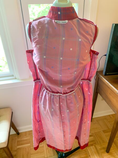 pinned dress on dress form full view