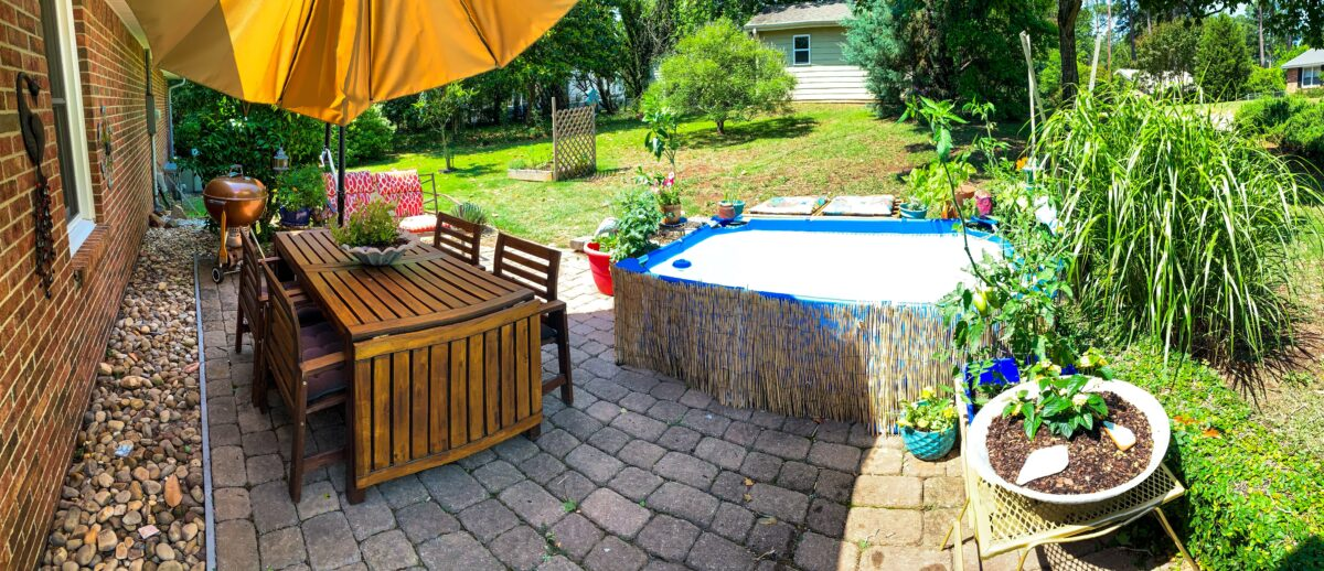 Small budget backyard patio panoramic view