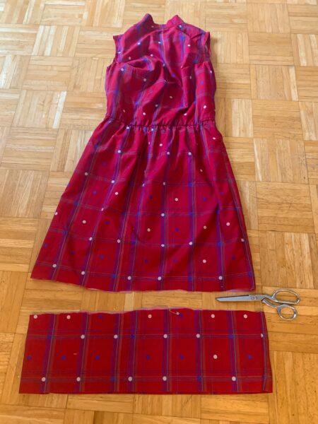 shortening bottom hem of dress
