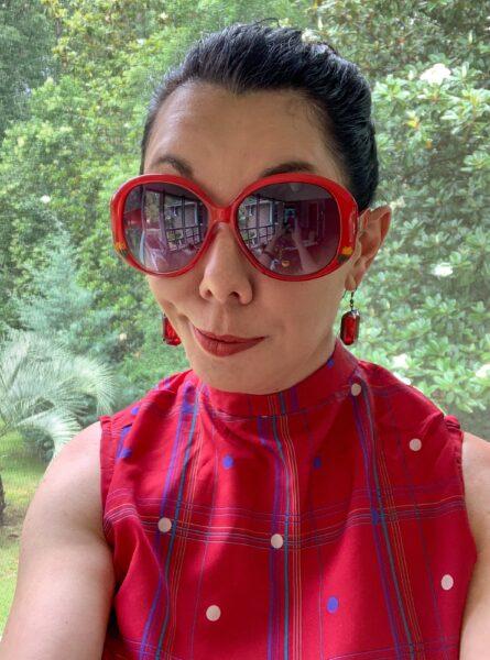 refashionista red dress selfie