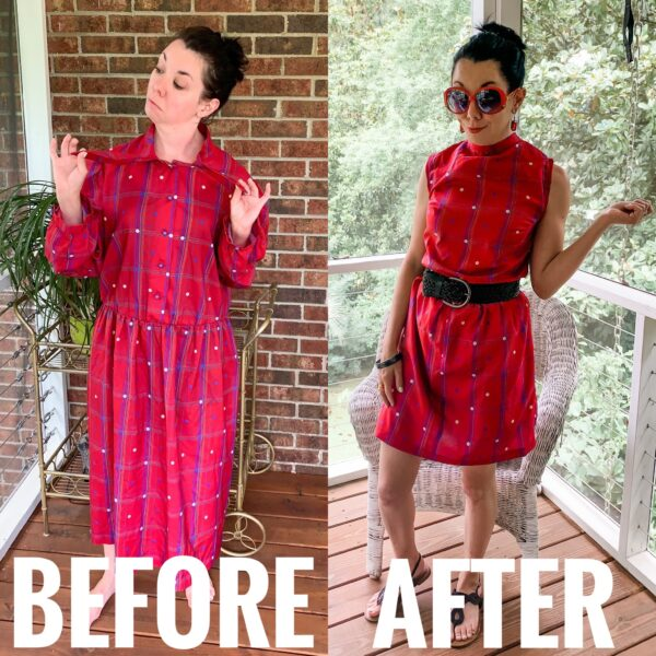 Refashionista How to Refashion a Dress to be Worn Backwards Before and After