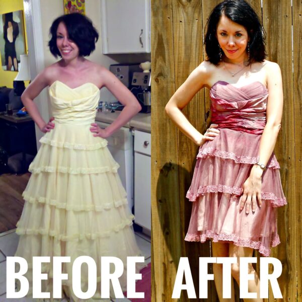 Refashionista Wedding Dress Refashion Before and After