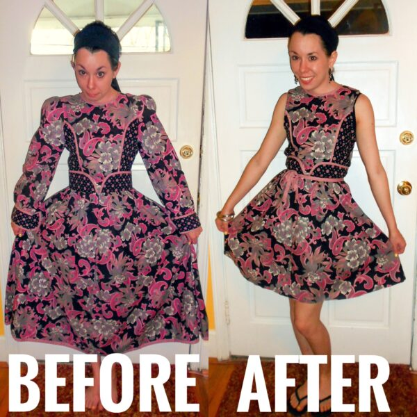 thrift store dress refashion before and after