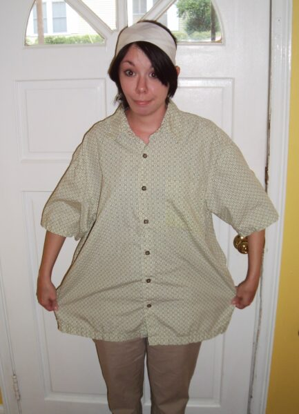 short sleeve button down shirt to skirt refashion before