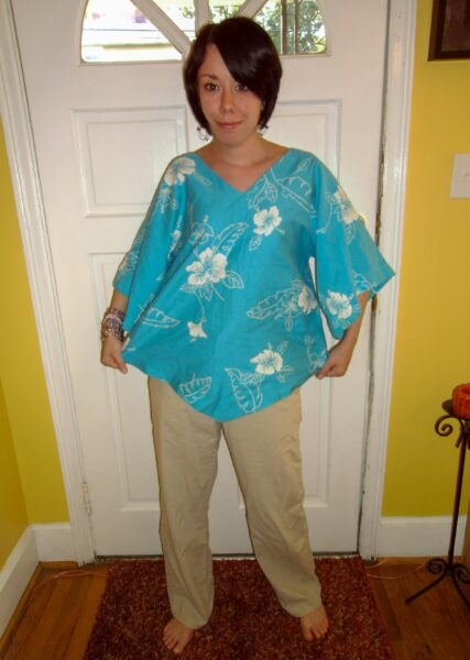 Shirt to bolero refashion before