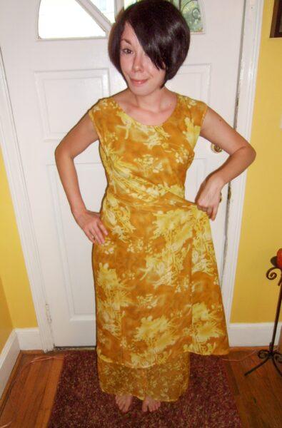 twisting and pinning dress