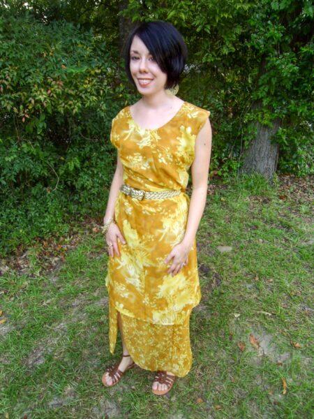 No-Sew Refashion: An Elegant Twist & Cinch Dress After