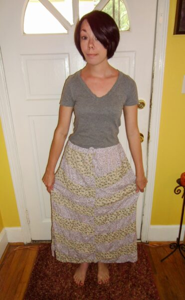 pop festival skirt to dress refashion before