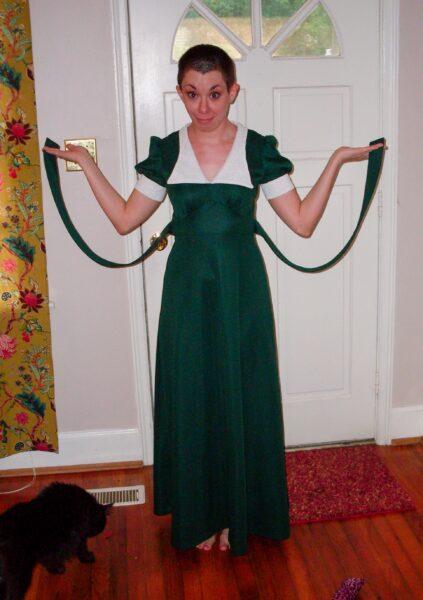 diy ruched shoulder dress refashion before