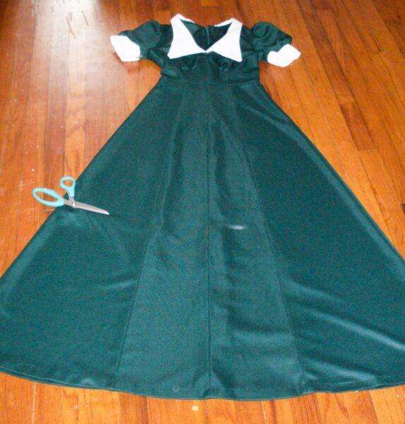cutting off bottom hem of dress