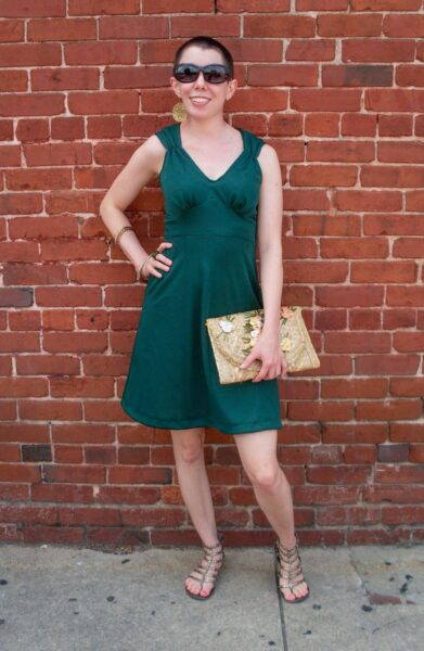 Green with Envy: A DIY Ruched Shoulder Dress Refashion After