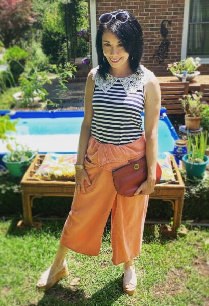 $1 Stripey Lace Collared Top, $0.50 Thai Fisherman Pants, & Vintage Aigner Clutch
