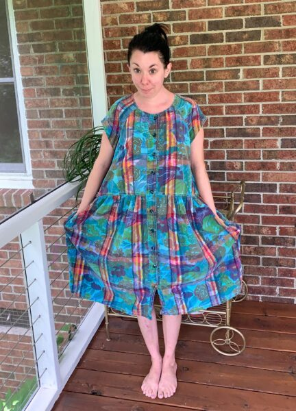 refashionista 80s floral madras dress refashion before