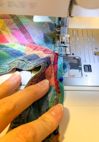 sewing down armhole