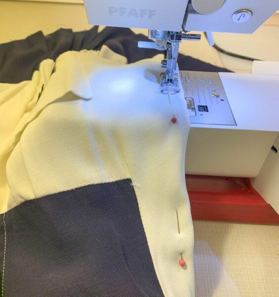 sewing down new neckline