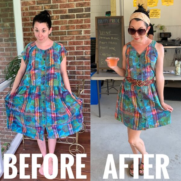 refashionista 80s floral madras dress refashion before and after
