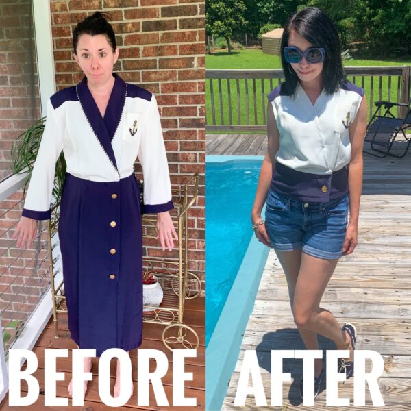 Refashionista Yacht Rock Dress to Top Refashion Before and After